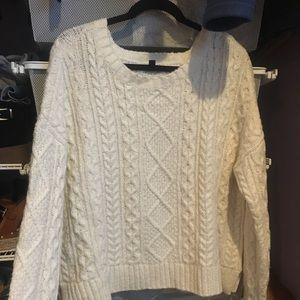 Oversized white knit